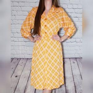 Vintage 1960s plaid dress yellow orange Medium
